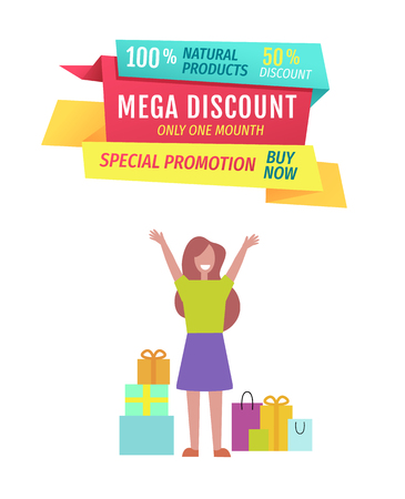 Illustration pour Mega discount this month perfect offer poster. Woman happy because of shopping price reduction. Boxes and gifts products bought on lower cost vector - image libre de droit