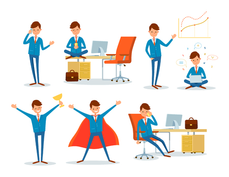 Illustration for Man Working in Office, Business Superman Male Hero - Royalty Free Image
