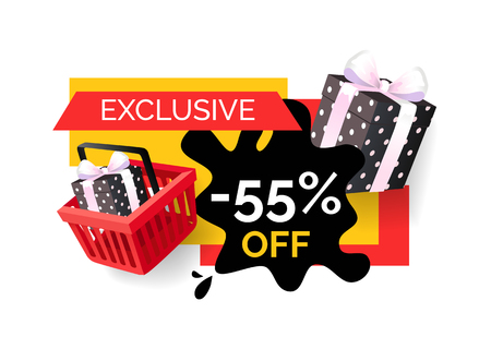 Illustration for Exclusive products sellout 55 off price isolated banner vector. Presents and gifts in shopping basket, promotion and clearance of shops, sale goods - Royalty Free Image