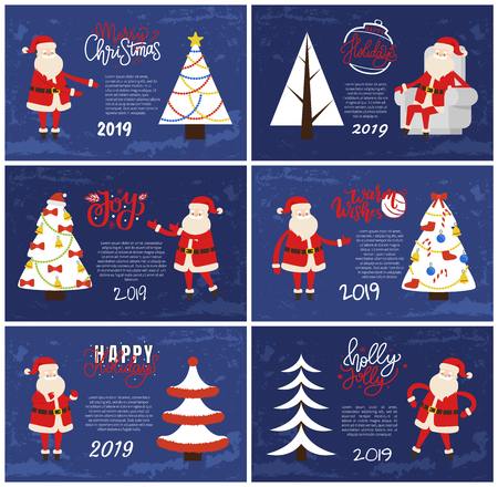 Merry Christmas and Happy New Year 2019 greeting cards red Santa Claus and white Xmas tree on blue background. Decorated and abstract spruces, holiday adventures vector postcards