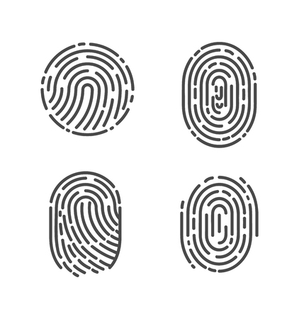 Ilustración de Security and prints of fingers to pass access. Identification fingerprints sketches set icons vector. System of bio recognition, identifying methods - Imagen libre de derechos