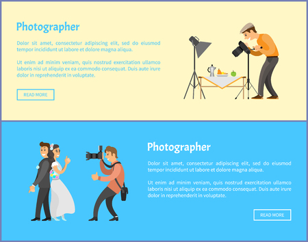 Illustration pour Still life and wedding photographers with cameras banners set. Fruits near teapot composition, bride next to groom taking photo vector illustrations. - image libre de droit