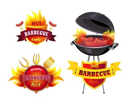 Illustration for Hot BBQ Barbecue Tasty Set Vector Illustration - Royalty Free Image