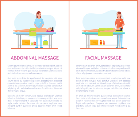 Illustration pour Abdominal and facial medical massage session cartoon posters set with text. Masseur girl in uniform and patient man lying on table relaxed and pleased - image libre de droit