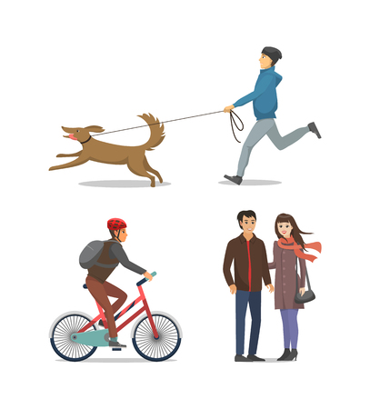 Illustrazione per Pet on Leash Boy Running Together Isolated Vector - Immagini Royalty Free