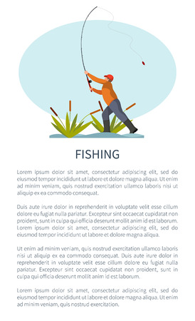 Illustration for Fishman standing on riverside in reed or rushes throwing fishing rod or tackle gear. Fisher angling hobby and leisure time activity vector poster. - Royalty Free Image
