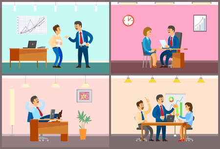 Illustrazione per Boss and employees in office, work process. Rebuke for bad job, interview and working break, business meeting with presentation vector illustrations. - Immagini Royalty Free