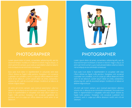 Illustration pour Photographers with cameras and equipment posters with text sample. Man holding tripod, carrying backpack, photo session order vector illustrations - image libre de droit