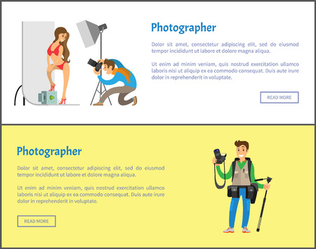 Illustration pour Photographer making photo session of girl in bikini swimwear and professional journalist with tripod and special camera gear equipment vector web posters - image libre de droit