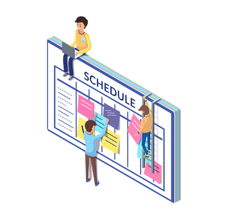 Illustration pour Schedule Board and People Working on Its Updating - image libre de droit