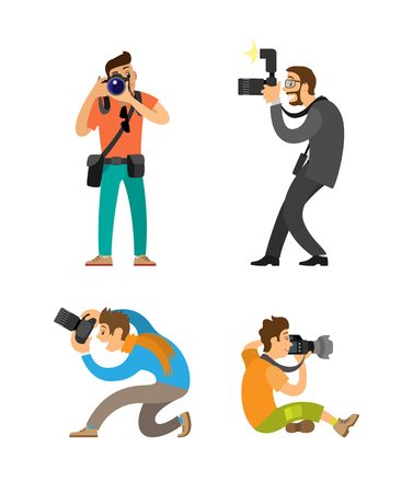 Illustration pour Photographing people set, photographer and paparazzi, modern cameras with flash. Man taking photos, journalist in glasses wearing suit vector illustrations. - image libre de droit