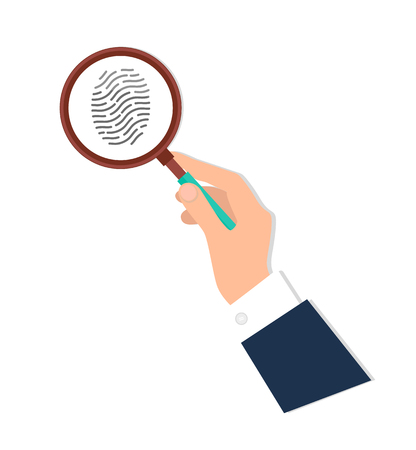 Ilustración de Investigation of thumb prints by magnification loupe. Personal identity sign, detective research concept. Fingerprint in magnifying glass vector icon isolated. - Imagen libre de derechos