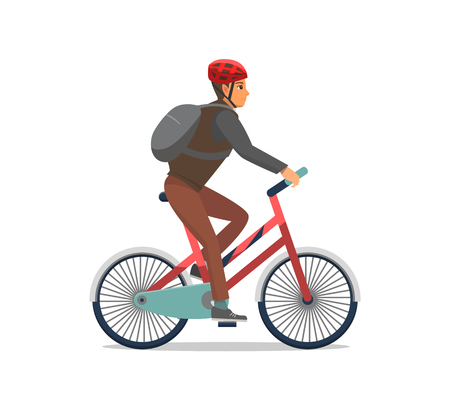 Ilustración de Bicycle man riding bike, biker wearing protective helmet vector. Speed of cycling, person having good time active healthy lifestyle. Hobby and sport - Imagen libre de derechos