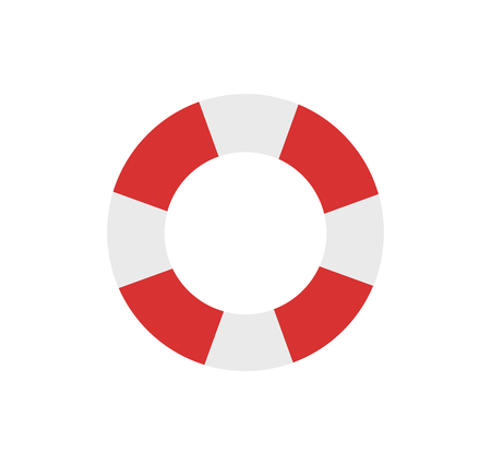 Illustration for Lifebuoy emblem cartoon isolated vector icon. Double color, striped inflatable ring, saving equipment single simple element, top view primitive badge - Royalty Free Image