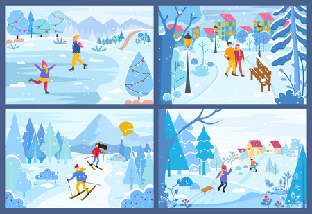 Illustration pour Winter Christmas holidays of people in park set vector. Children skating and skiing person, couple walking along trees covered with snow, seasonal fun - image libre de droit