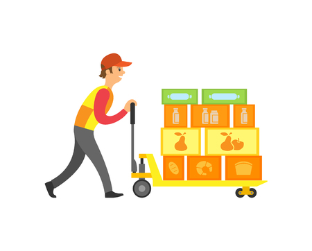 Illustration for Loader worker in supermarket with boxes on machine with wheels vector. Working male pushing storage and orders of market. Containers with goods inside - Royalty Free Image