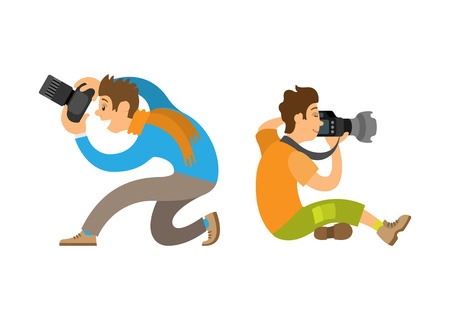 Illustration pour Photographers taking photo with modern digital cameras sitting on knee or floor. Man making picture, powerful zoom device vector illustrations set. - image libre de droit