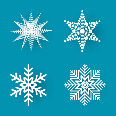 Illustration pour Christmas paper cut, four different white snowflakes on blue background. Decoration for winter holiday. Handmade small postcard vector illustration - image libre de droit