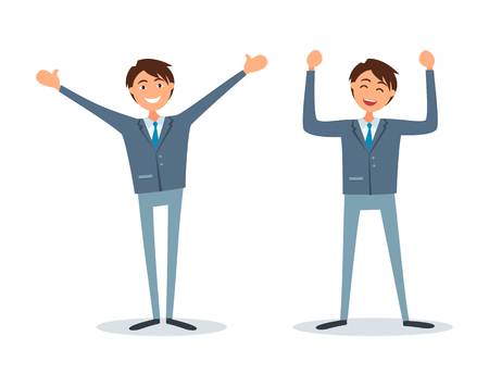 Illustration pour Men happy because of success, successful bosses, flat style vector. Chief executive ceo workers having good mood. Entrepreneurs with broad smile on face - image libre de droit