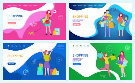 Illustration pour Shopping family using discounts, buying presents and gifts on holiday vector. Customer, female friends happy because of purchases in paper packages - image libre de droit
