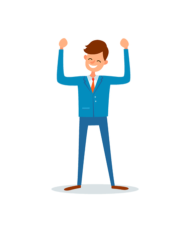 Illustration pour Man happy because of success, successful boss, flat style vector. Chief executive ceo worker having good mood. Enterpreneur with broad smile on face - image libre de droit