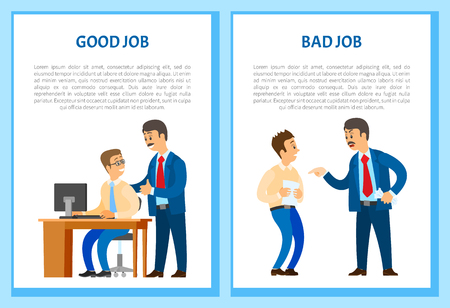Ilustración de Good and bad job posters, chief executive angry with office worker, shouting at man vector. Boss praising new employee for well done task, text samples - Imagen libre de derechos