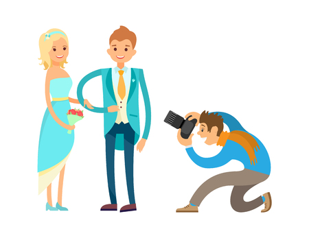 Illustration pour Ceremony of engagement, happy newlywed couple husband and wife isolated. Professional photographer takes photos of romantic bride and groom vector - image libre de droit