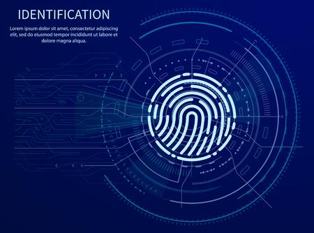 Illustration pour Identification Fingerprint Poster Illuminated Data - image libre de droit