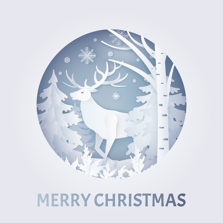 Ilustración de Merry Christmas postcard with deer near trees with snowflakes in round frame. Decorated greeting card with snow falling weather in white color vector, paper art and craft style - Imagen libre de derechos