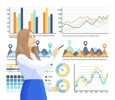 Ilustración de Infographics and info structure, woman thinking on explanation of infocharts vector. Planning of company strategy. Flowcharts and pie diagrams set - Imagen libre de derechos
