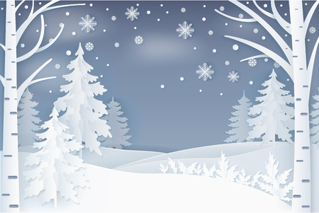 Illustration pour Forest, snowflakes and hills at night vector. Winter nature, falling snow and decorated fir-trees with birches on snowy landscape, Christmas noel card, paper art and craft style - image libre de droit