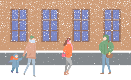 Illustration pour Mother and kid passing by building with windows vector. Street filled with people wearing warm clothes hurry to get home. Woman holding sack handbag - image libre de droit