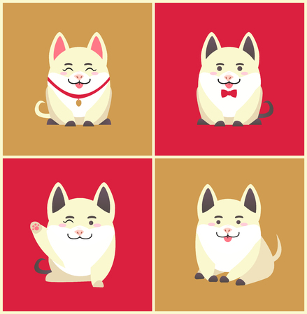Illustrazione per Chinese New Year animal pet pig animal in collar vector. Pig pretending to be puppy wearing bow on neck, domesticated canine holiday celebration set - Immagini Royalty Free