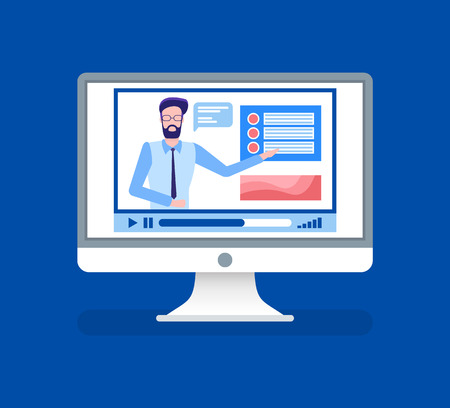 Illustration pour Online courses lead by male tutor teacher on video vector. Isolated icon of person giving information for study, home assignments and material explanation - image libre de droit
