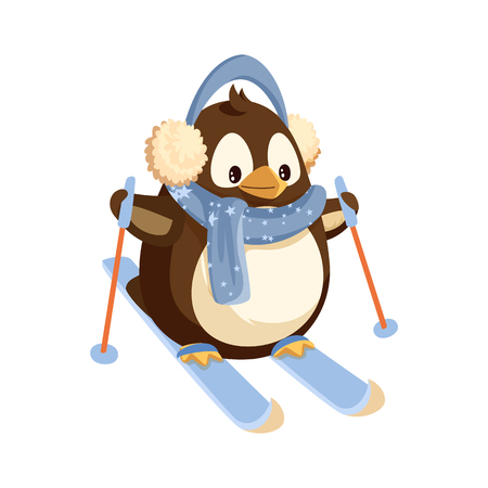 Ilustración de Penguin in earmuffs and scarf on skis with sticks. Winter sport, Arctic bird in warm outfit doing sport. Polar animal, Christmas holiday isolated vector. - Imagen libre de derechos