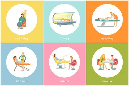 Illustration pour Tanning at Spa Salon Solarium and Manicure Vector - image libre de droit