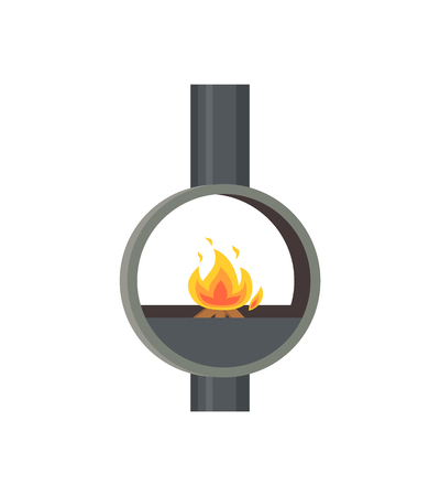 Photo pour Fireplace made of metal material iron stove isolated icon vector. Pipe glowing flames in ball, home interior decoration of closed type, circular furnace - image libre de droit
