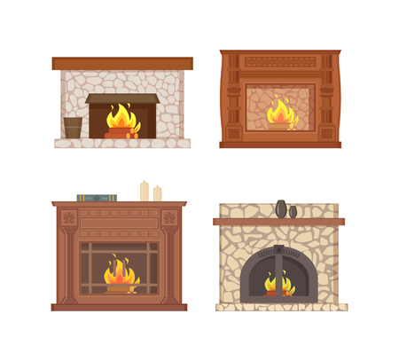 Illustration pour Fireplace with bucket and shelf for vase decor vector isolated icons set vector. - image libre de droit