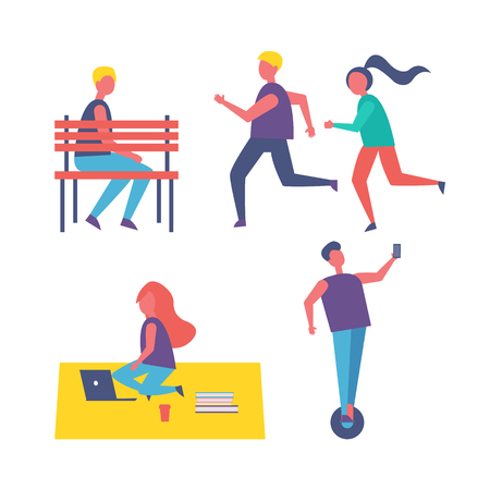 Ilustración de Running people couple and freelancer working on laptop isolated icons set. Man sitting on bench, person riding hoverboard, female and males vector - Imagen libre de derechos