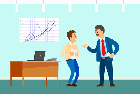 Illustrazione per Bad job, angry boss and irresponsible employee. Wrong statistical report or paperwork, rebuke in office with desktop and graphic vector illustration. - Immagini Royalty Free