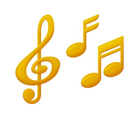Illustration for Treble clef and note sign music award, reward of musical players and singers vector. Isolated icons of gold prizes, trophy for winners in music competitions - Royalty Free Image
