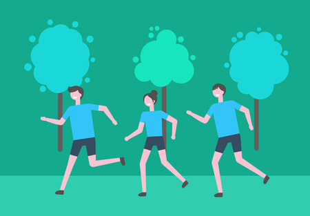 Ilustración de Running man and woman vector, people in leafy park jogging. Students taking care of health and body, sport activities and exercising, fitness and athletics - Imagen libre de derechos