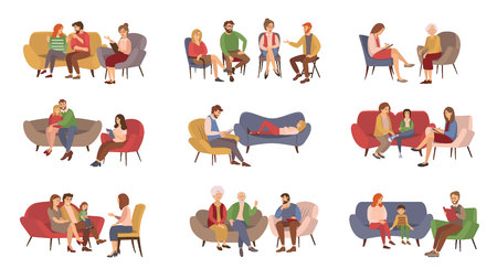 Illustrazione per Psychotherapist services, psychotherapy session vector. Couples and families, kids and teenagers or adults getting psychological help, rehabilitation group - Immagini Royalty Free