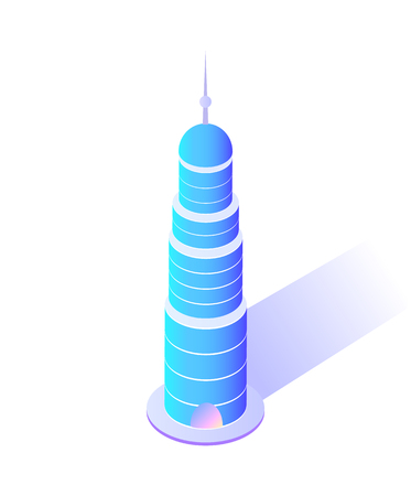 Illustration for Skyscraper with sharp top modern city architecture vector. Isolated icon of building circular shape of construction of steel and concrete town center - Royalty Free Image