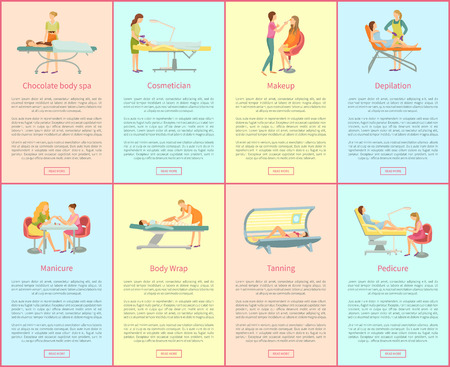 Chocolate body spa and cosmetician, tanning and pedicure posters set with text sample. hair styling, manicure and depilation with wax service vector