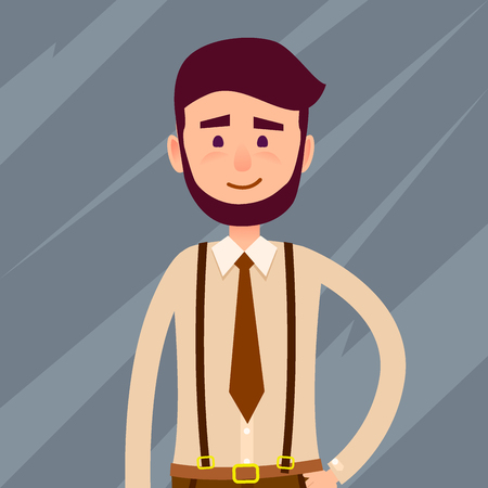 Illustration for Young male cartoon character with beard and small smile in brown tie and trousers with suspenders isolated on dark background. Man from cropped foreshortening. Human model vector illustration. - Royalty Free Image