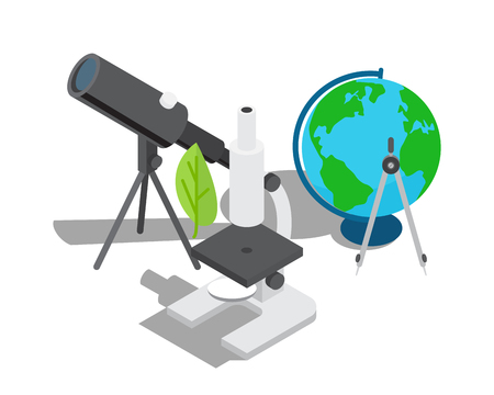 Illustration pour Scientific equipment for observation and research. Powerful telescope, modern microscope with leaf, small globe with divider vector illustrations. - image libre de droit