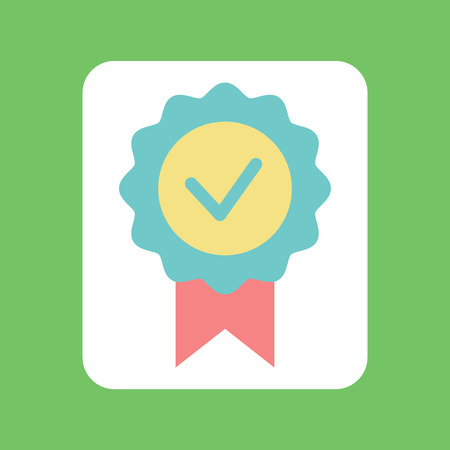 Illustration pour Check mark with ribbon, circle colorful tick icon, flat design element of voting. Badge of agreement on green, label of positive decision, success vector - image libre de droit