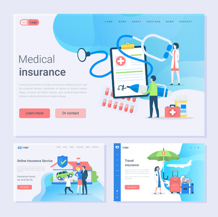 Illustration pour Medical and travel insurance and online service, safety set vector. House, car and family safe, doctor with contract of clipboard, paper with contract. Website or webpage template, landing page flat style - image libre de droit