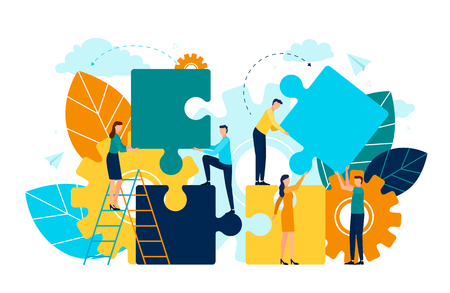 Ilustración de People with puzzle pieces vector, man and woman standing on ladder, foliage and flora. Cogwheel symbol of process and improvement project development - Imagen libre de derechos